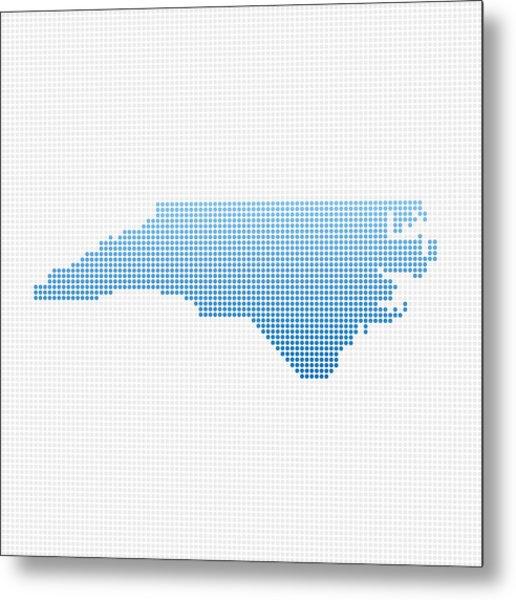 North Carolina Map Blue Dot Pattern Metal Print by FrankRamspott