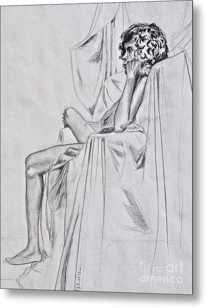 Nude In A Draped Chair Metal Print