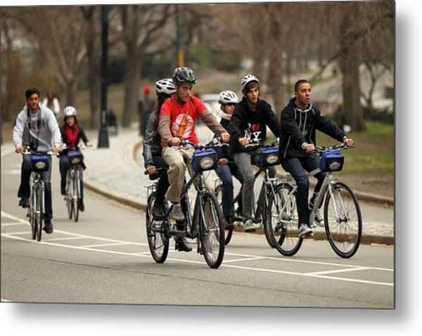 Nypd Steps Up Ticketing Of City Bicyclists Metal Print by Spencer Platt