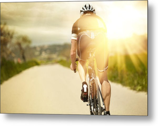 One Man And His Bicycle Metal Print by Sohl