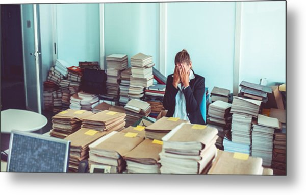 Overworked Office Worker, Bureaucracy, Archives Metal Print by Matjaz Slanic