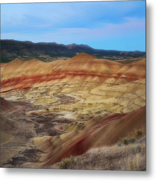 Painted Hills In Square Metal Print