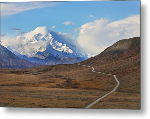 Park Road In Autumn Landscape Leading Toward Mount Denali Metal Print by Rainer Grosskopf