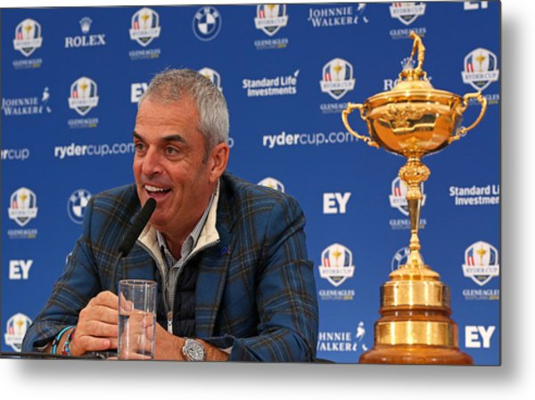 Paul Mcginley Press Conference - 2014 Ryder Cup Metal Print by Mike Ehrmann