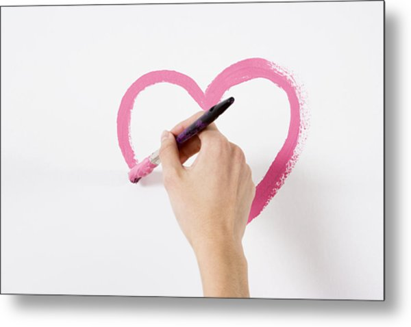 Person Painting A Heart Metal Print by Image Source