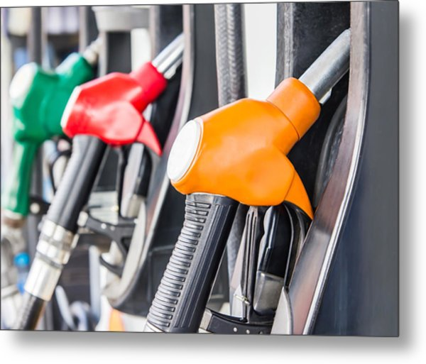 Petrol Pump Filling Metal Print by FeelPic