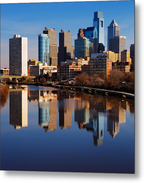 Philadelphia Reflected In The Still Watera Metal Print by Sophie James