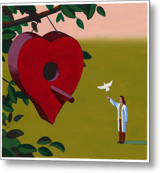 Physician Releasing Dove Metal Print by Jonathan Evans