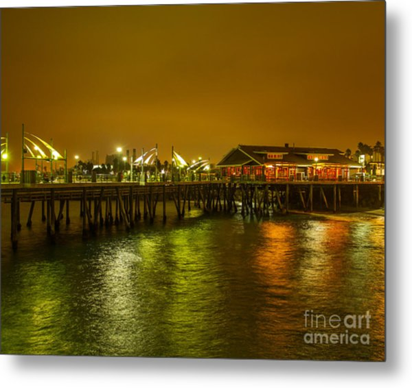 Pier Lights Metal Print