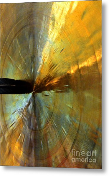 Point Of Impact In Copper And Green Metal Print