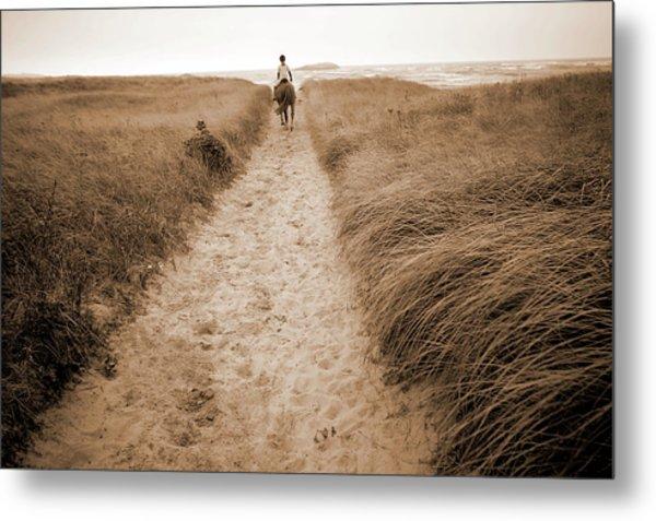 Popham Beach, Horseback Riding, Maine Metal Print