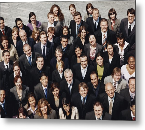 Portrait Of A Large Group Of Business People Standing Outdoors Metal Print by Digital Vision.