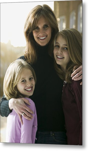Portrait Of A Mid Adult Woman With Her Daughters Metal Print by Photodisc