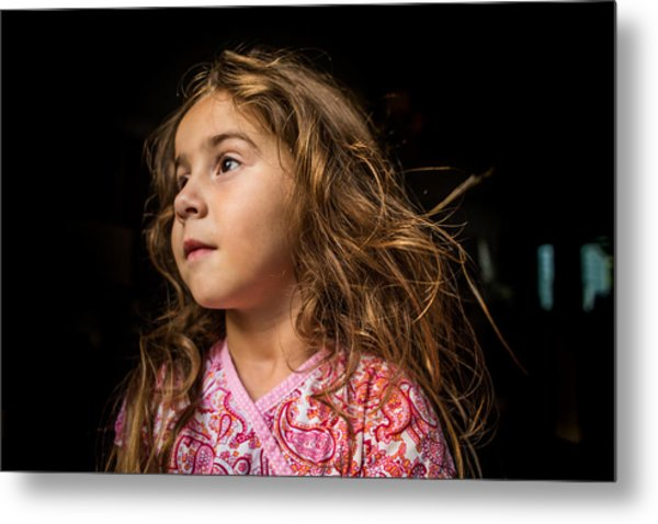 Portrait Of A Young Girl. Metal Print by Fran Polito