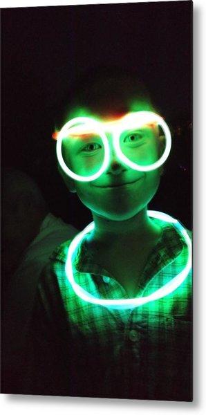 Portrait Of Boy With Illuminated Neon Ring And Eyeglasses In Darkroom Metal Print by Sharon Kozik / EyeEm
