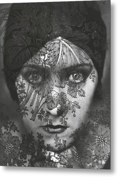 Portrait Of Gloria Swanson Behind Lace Metal Print