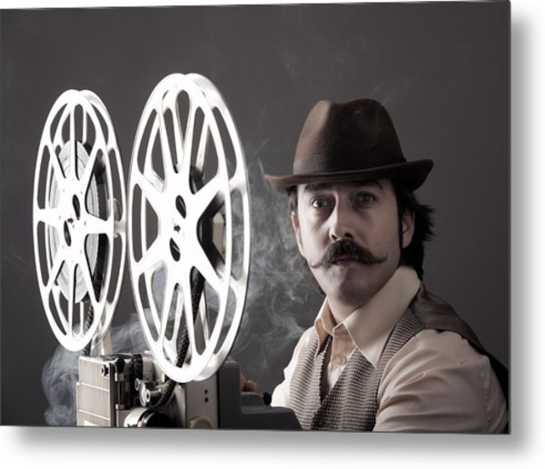 Portrait Of Old Fashioned Cinematographer Metal Print by Selimaksan