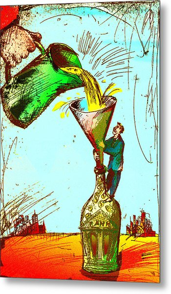 Pouring Liquid Gold Into Bottle Metal Print by Vasily Kafanov