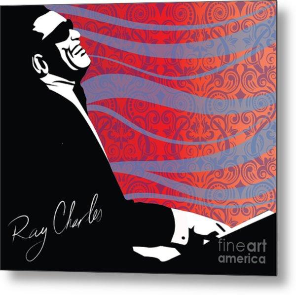 Ray Charles Jazz Digital Illustration Print Poster  Metal Print
