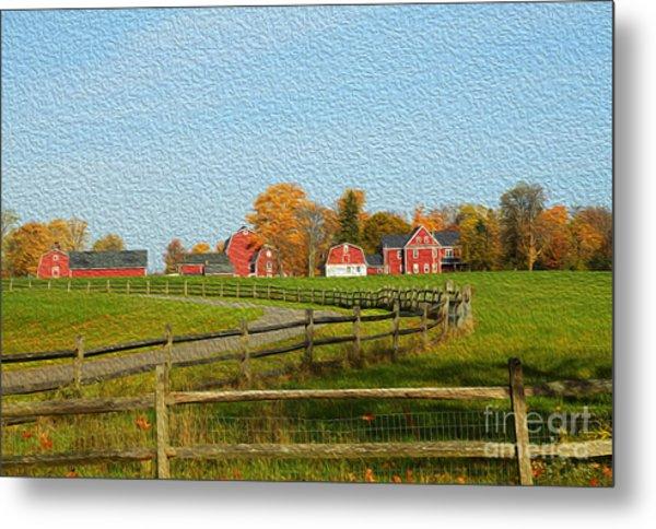 Red Farm House And Barns Metal Print