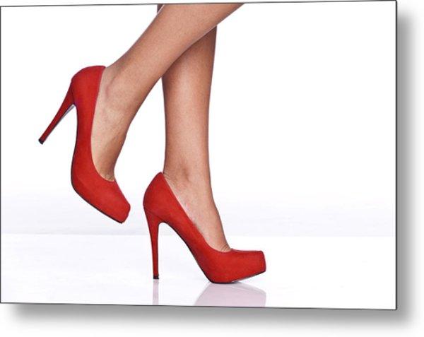 Red Female Shoes Metal Print by Juanmonino