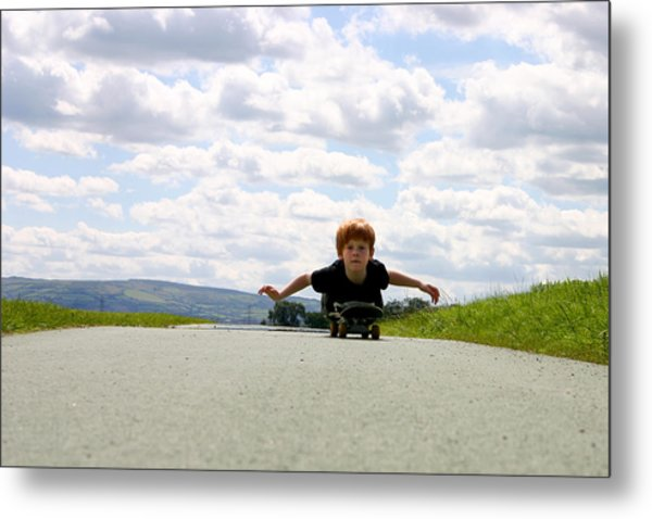 Red Headed Boy Skateboarding Metal Print by Image by Catherine MacBride