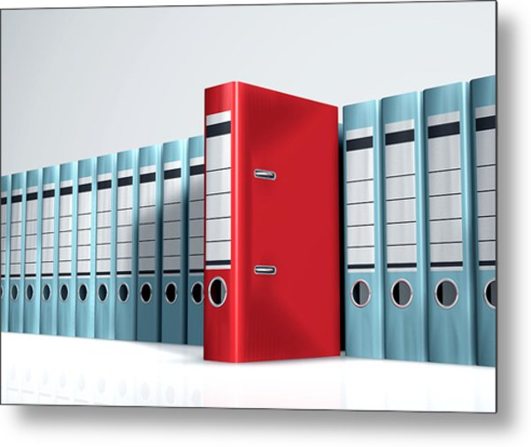 Red Lever Arch File In A Row Of Grey Files Metal Print by Artpartner-images