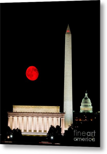 Red Moon Over Monuments Metal Print