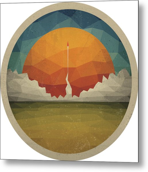 Red Rocket Flies Start Up Concept Vector Of Triangles Metal Print by Magnilion