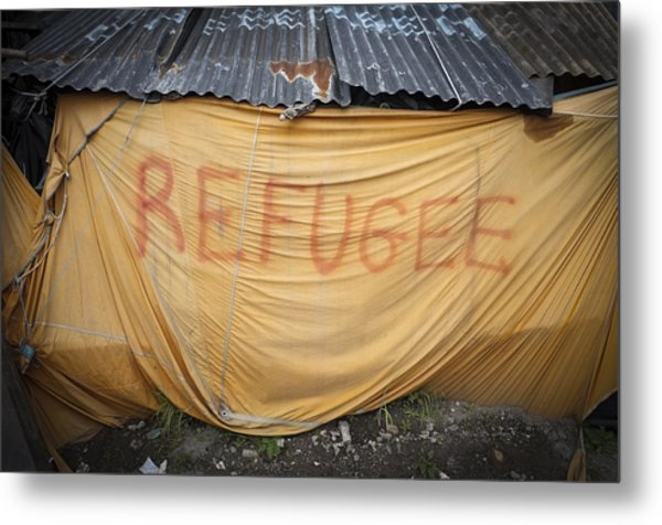 Refugee Tent In The Jungle Calais Metal Print by Phil Le Gal