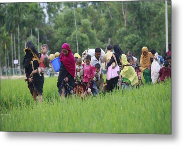 Rohingya Muslims Flee Violence In Myanmar Metal Print by Suvra Kanti Das