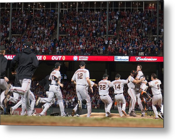 San Francisco Giants V Texas Rangers, Game 5 Metal Print by Rob Tringali