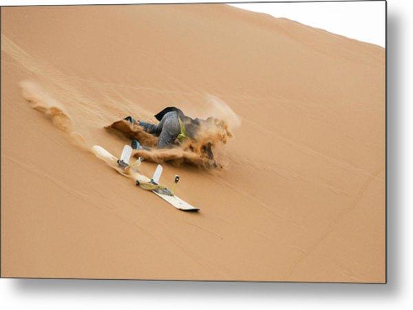 Sand-boarding The Saharan Sand Dunes, Merzouga, Morocco Metal Print by Paul Biris