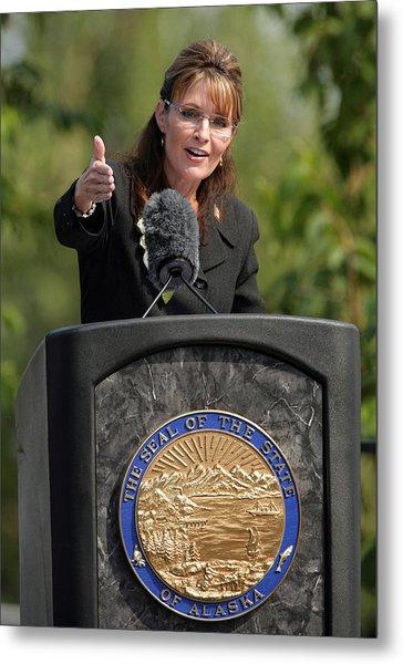 Sarah Palin Hands Over Power To Alaska's Lt. Gov. Sean Parnell Metal Print by Eric Engman