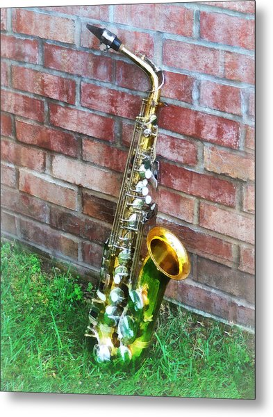 Saxophone Against Brick Metal Print