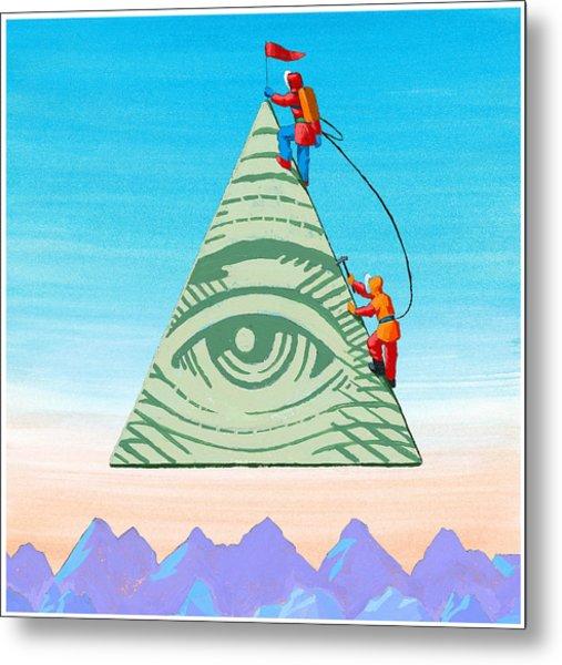 Scaling The Financial Pyramid Metal Print by Jonathan Evans