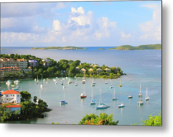 Scenic Overlook Of Cruz Bay St. John Usvi Metal Print