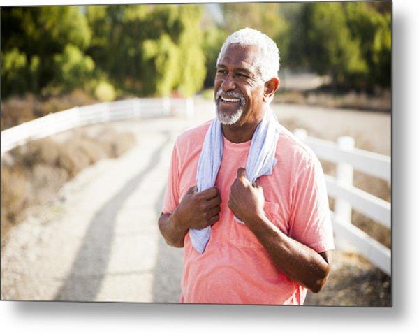 Senior Black Man After Workout Metal Print by Adamkaz