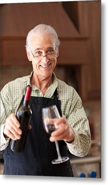 Senior Man Having A Glass Of Wine Metal Print by Lise Gagne