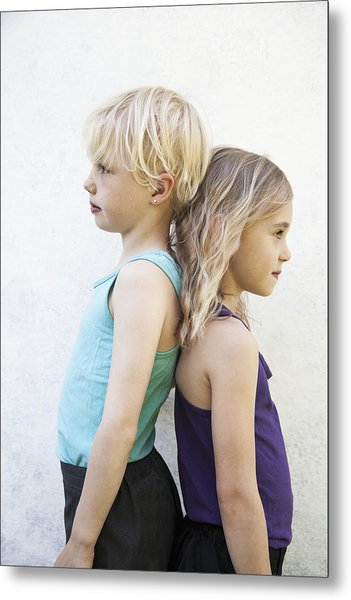Sisters Standing Back To Back Metal Print by Johner Images