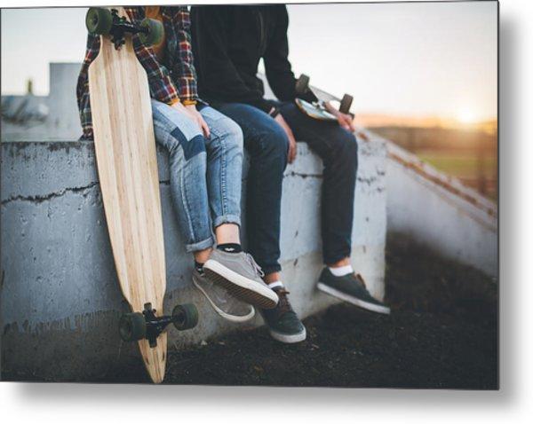 Skateboarders Taking A Rest In Skate Park Metal Print by Hobo_018