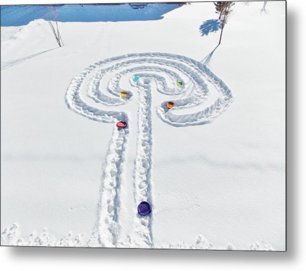 Snow Labyrinth Metal Print