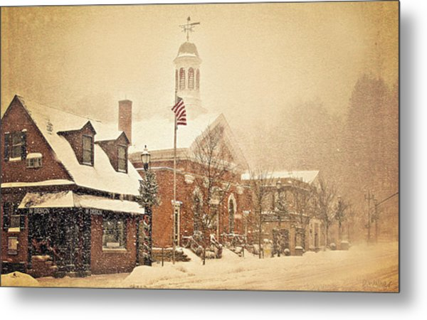 Snow On Main Street Chagrin Falls Oh Metal Print by Dorothy Walker