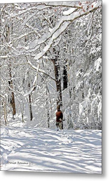 Snow Walking Metal Print