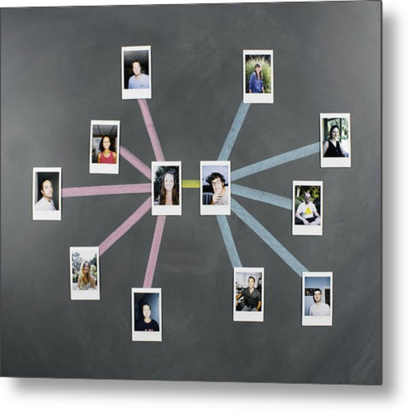 Social Network Diagram With Photos Metal Print by Jeffrey Coolidge