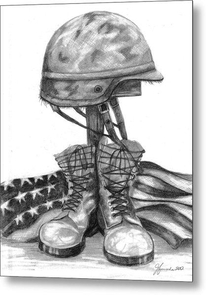 Soldiers Cross Remember The Fallen Metal Print by J Ferwerda