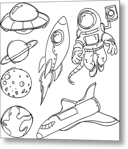 Space Catoon Collection Metal Print by LokFung