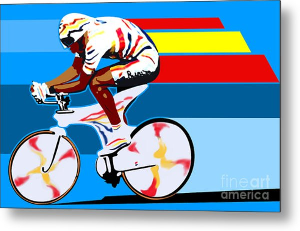spanish cycling athlete illustration print Miguel Indurain Metal Print