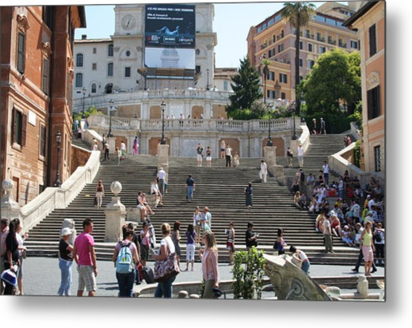 Spanish Steps With People Metal Print by Pejft