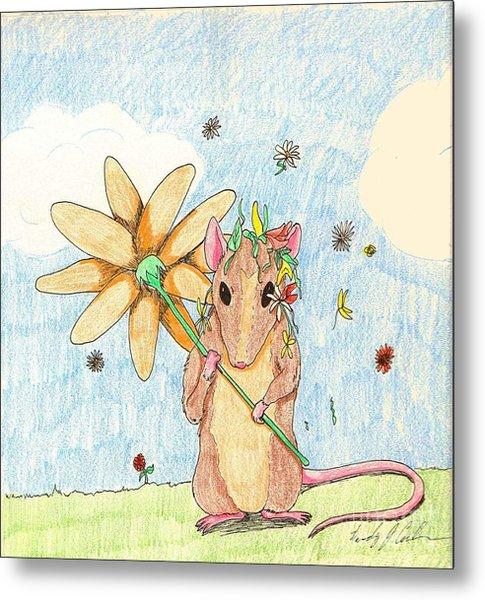 Spring Mouse Metal Print